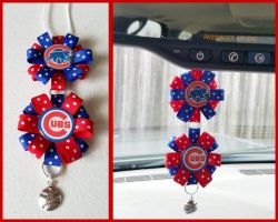 Chicago Cubs Ribbon Rear View Mirror Charm #A9A5 (choose images, colors)