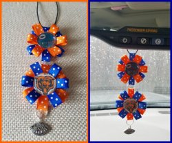 Chicago Bears Ribbon Rear View Mirror Charm #A9A15 (choose images, colors)