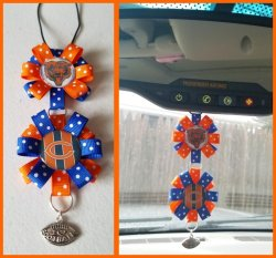 Chicago Bears Ribbon Rear View Mirror Charm #D11D5 (choose images, colors)