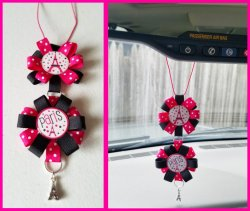 Paris Ribbon Rear View Mirror Charm #D3D2 (choose images, colors)