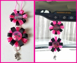 Hawaiian Ribbon Rear View Mirror Charm #B2B1 (choose images, colors)
