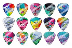 Trolls Guitar Pick Images Sheet #1 (instant download or pre cut)