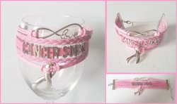 Breast Cancer Awareness Cancer Sucks Infinity Wrap Bracelet