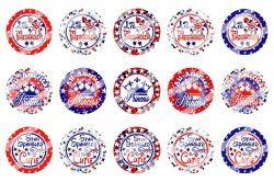 4th Of July Bottle Cap 1 Circle Images Sheet #8x (instant download or pre cut)