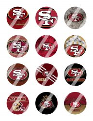 San Francisco 49ers 2 Circle Images Sheet #1 (digital file or pre cut)
