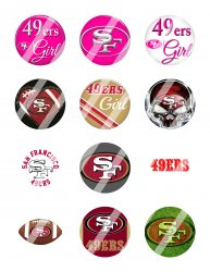 San Francisco 49ers 2 Circle Images Sheet #5 (digital file or pre cut)