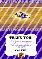Baltimore Ravens Personalized Thank You Card #2 (digital file you print)