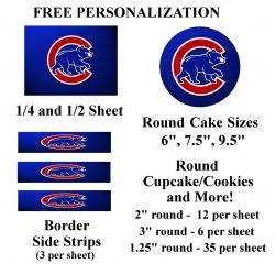 Chicago Cubs Edible Image Frosting Sheet #5 (different sizes)