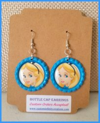 Alice in Wonderland Bottle Cap Dangle Earrings #C11 (choose image and cap color)