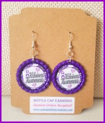 Alzheimers Awareness Bottle Cap Dangle Earrings #O7 (choose image and cap color)