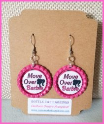 Barbie Bottle Cap Dangle Earrings #A2 (choose image and cap color)