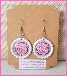 Breast Cancer Awareness Bottle Cap Dangle Earrings #U4 (choose image, cap color)