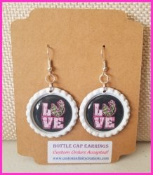 Camo Sayings Bottle Cap Dangle Earrings #A11 (choose image and bottle cap color)