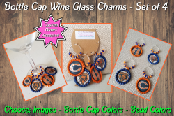 Set of 4 Chicago Bears Bottle Cap Wine Glass Charms Set #1 (choose images)