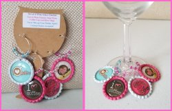 Set of 4 Coffee Bottle Cap Wine Glass Charms #A11A13A14B1 (choose images)