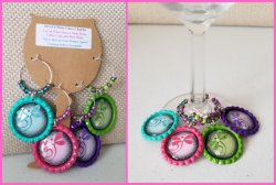 Set of 4 Dragonfly Bottle Cap Wine Glass Charms #A1A2A4A5 (choose images)