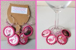 Set of 4 Flamingo Bottle Cap Wine Glass Charms Set #1 (choose images)