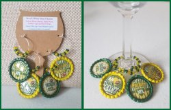 Set of 4 Green Bay Packers Bottle Cap Wine Glass Charms I2I4L1L4 (choose images)