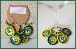 Set of 4 Green Bay Packers Bottle Cap Wine Glass Charms #D6D15E5E7 choose images