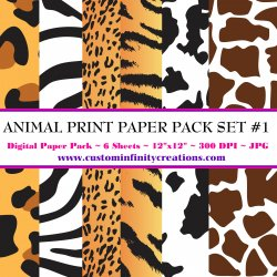 Animal Print Digital Paper Pack #1 (digital file - printable)