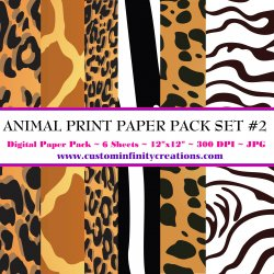 Animal Print Digital Paper Pack #2 (digital file - printable)