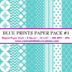 Blue Prints Digital Paper Pack #1 (digital file - printable)
