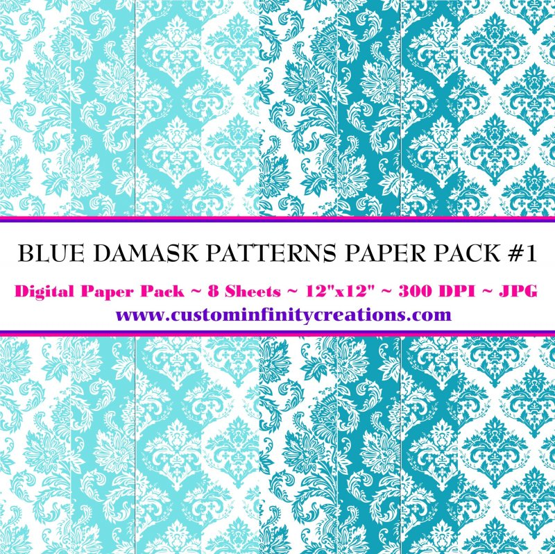 Blue Damask Patterns Digital Paper Pack #1 (digital file - printable)