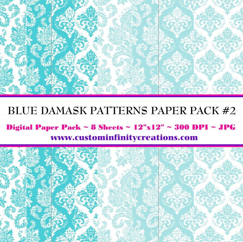 Blue Damask Patterns Digital Paper Pack #2 (digital file - printable)