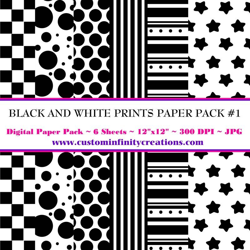 Black and White Prints Digital Paper Pack #1 (digital file - printable)
