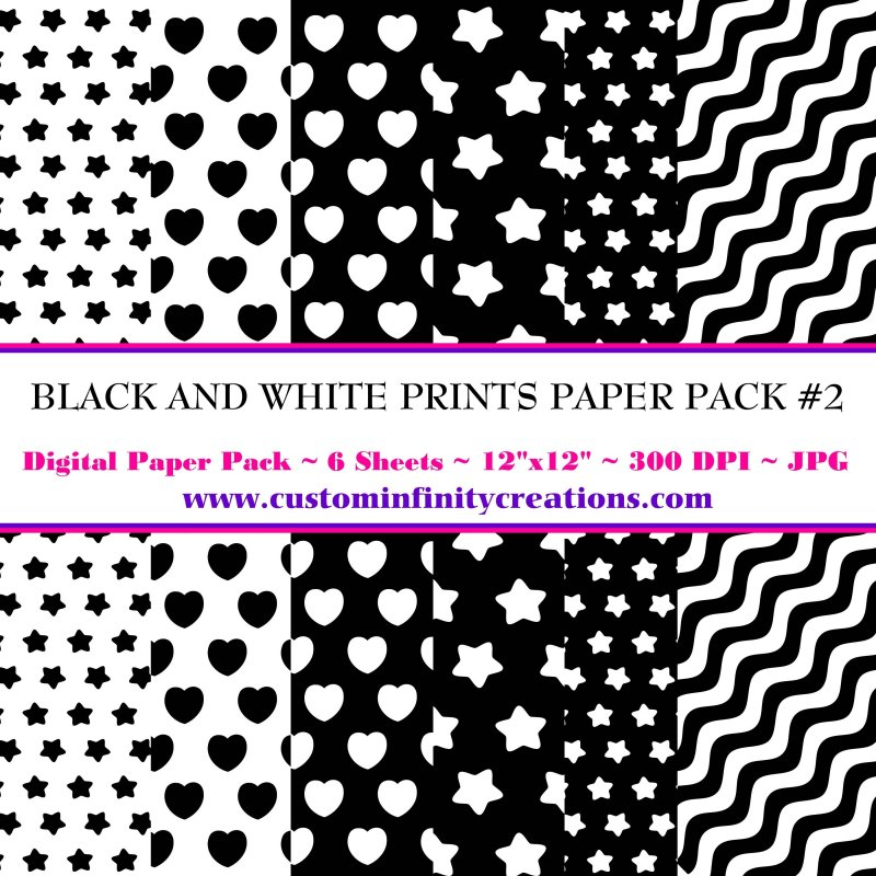 Black and White Prints Digital Paper Pack #2 (digital file - printable)