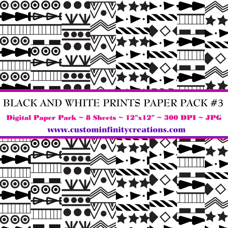 Black and White Prints Digital Paper Pack #3 (digital file - printable)