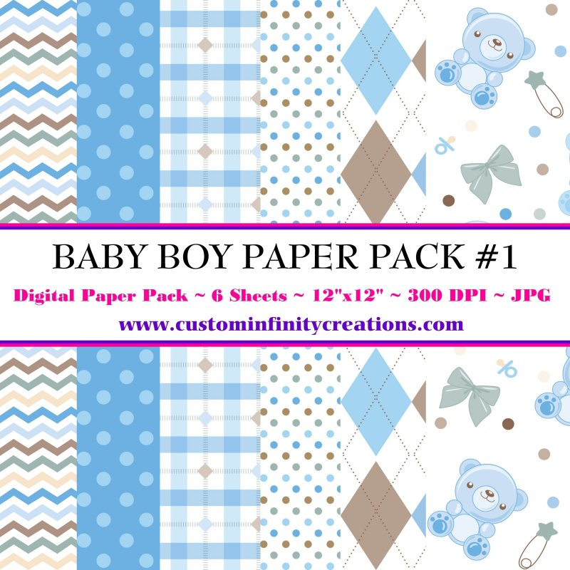 Baby Boy Digital Paper Pack #1 (digital file - printable)