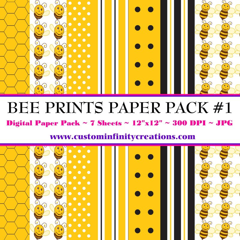 Bee Print Digital Paper Pack #1 (digital file - printable)