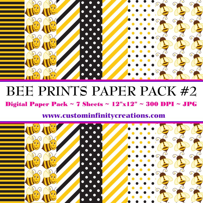 Bee Print Digital Paper Pack #2 (digital file - printable)
