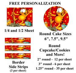 Garfield Edible Image Frosting Sheet #45 (different sizes)