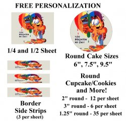 Garfield Edible Image Frosting Sheet #50 (different sizes)