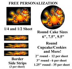 Garfield Edible Image Frosting Sheet #51 (different sizes)