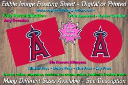 Los Angeles Angels Baseball Edible Image Frosting Sheet #3 Cake Cupcake Topper