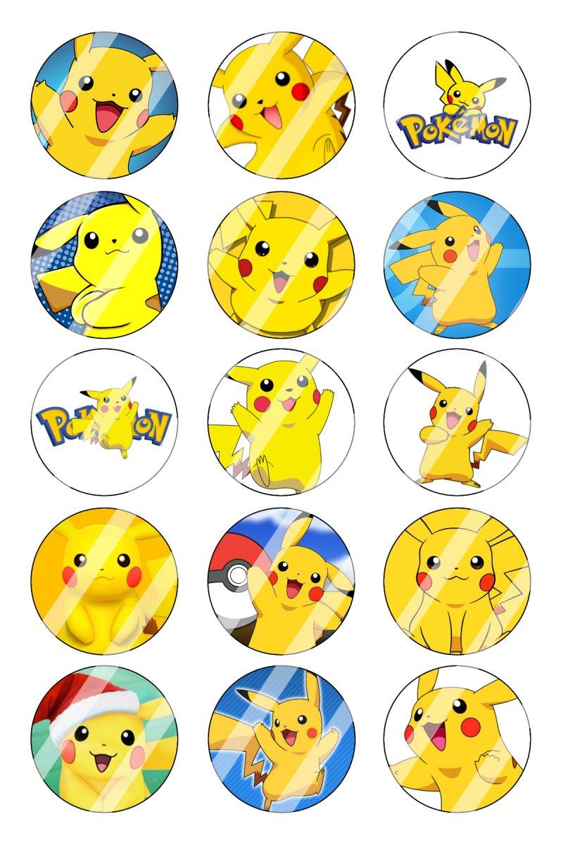 "POKEMON 15 BOTTLE CAP IMAGES  1/"" CIRCLES  *****FREE SHIPPING*****"