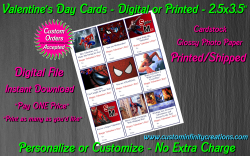 Spiderman Digital or Printed Valentines Day Cards 2.5x3.5 Sheet #4