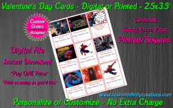 Spiderman Digital or Printed Valentines Day Cards 2.5x3.5 Sheet #5