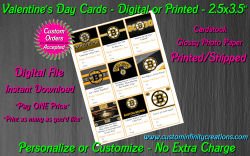 Boston Bruins Hockey Digital or Printed Valentines Day Cards 2.5x3.5 Sheet #1