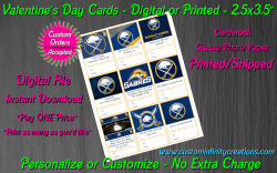 Buffalo Sabres Hockey Digital or Printed Valentines Day Cards 2.5x3.5 Sheet #1