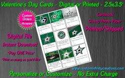 Dallas Stars Hockey Digital or Printed Valentines Day Cards 2.5x3.5 Sheet #1