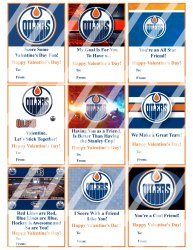 Edmonton Oilers Valentines Day Cards Sheet #1 (instant download or printed)