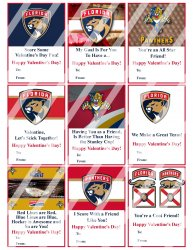 Florida Panthers Valentines Day Cards Sheet #1 (instant download or printed)