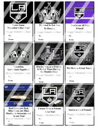 Los Angeles Kings Valentines Day Cards Sheet #1 (instant download or printed)