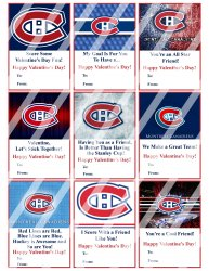 Montreal Canadiens Valentines Day Cards Sheet #1 (instant download or printed)