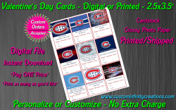 Montreal Canadiens Digital or Printed Valentines Day Cards 2.5x3.5 Sheet #1