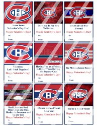 Montreal Canadiens Valentines Day Cards Sheet #2 (instant download or printed)